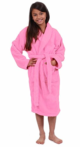 Turkuoise Girls Ultra Soft Plush Bathrobe Made in Turkey Pink, Medium (Ages 6-8)