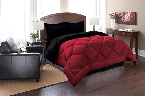 Elegant Comfort All Season Goose Down Alternative Reversible 3-Piece Comforter Set- Available In All Sizes And Colors, Full/Queen, Black/Burgundy