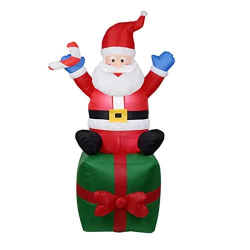Aufblasbare Weihnachtsdekoration für Den Außenbereich, 1,9 M Höhe, Beleuchteter Weihnachtsmann mit Rotem Hut und Doppelschichtigen Geschenkboxen