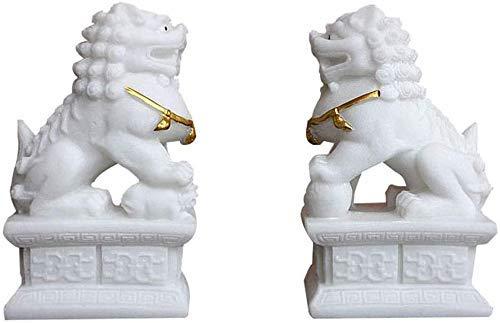 LEILEI Un par de Leones Chinos de Piedra de Beijing,par de estatuas de Perros Fu Foo,guardián Blanco,decoración Feng Shui,para el hogar y la Oficina,Mejor atracción de Riqueza y Regalo de Buena Sue