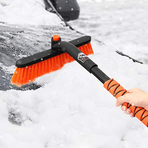 MATCC Car Snow Brush Removal Extendable with Ice Scraper and Foam Grip Detachable Snow Mover for Car Auto SUV Truck Windshield Windows