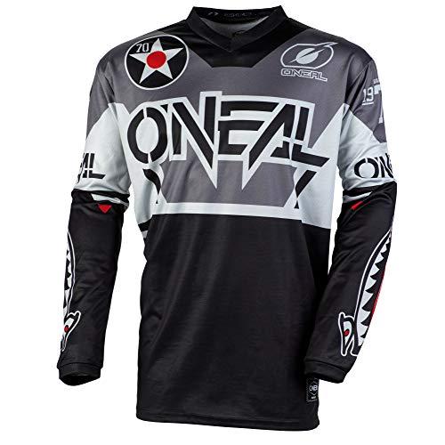O'NEAL | Motocross-Trikot | Enduro Motorrad | Passform für Bewegungsfreiheit, Gepolsterter Ellbogenschutz, Atmungsaktives Material | Jersey Element Warhawk | Erwachsene | Schwarz Grau | Größe S