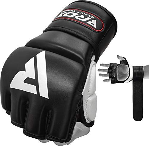 RDX MMA Handschuhe für Kampfsport,Genehmigt von SMMAF,Rindsleder Trainingshandschuhe Sparring Grappling Gloves,Punchinghandschuh für Kickboxen, Freefight, Muay Thai, Boxsack, Sandsack (MEHRWEG)