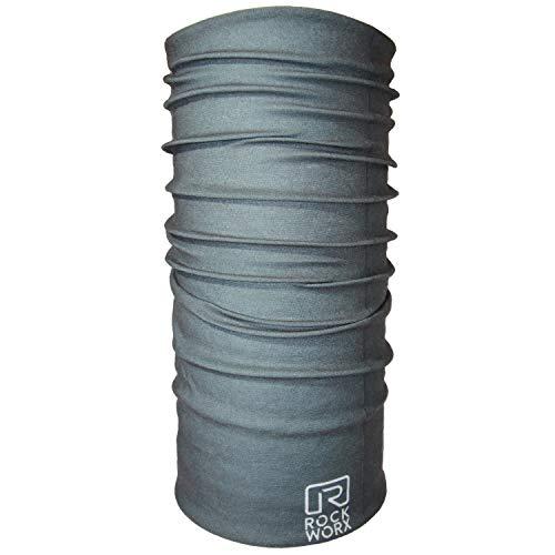 ROCKWORX Tube Bandana - Multifunktionstuch Halstuch Schlauchschal Röhrenschal Maske - Atmungsaktiv Elastisch Stylisch Raw Cut Unisex Dunkelgrau