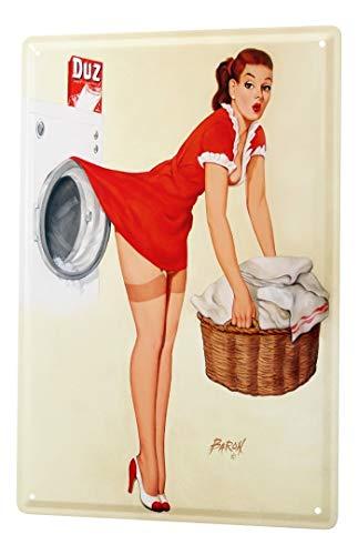 LEotiE SINCE 2004 Waschmaschine Korb Wäsche Blechschild 20x30 cm Metallschild Schild Wanddeko Deko Dekoration Retro Werbung Pinup Girl