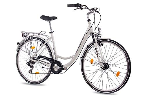 CHRISSON 28 Zoll Damen City Bike - Relaxia 1.0 Weiss - Damenfahrrad mit 6 Gang Shimano Tourney Kettenschaltung und Nabendynamo, Cityfahrrad mit Zoom Federgabel