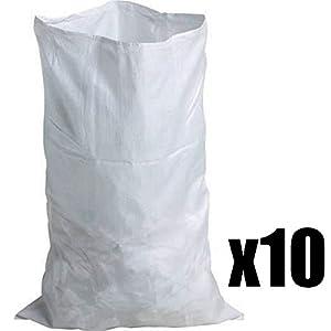 Lote de 10bolsas para escombros muy resistants blanco–55x 95–Saco tissés–entre 20y 30kg