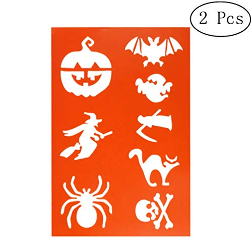 EXCEART 2 Piezas Plantillas de Plantillas de Pintura de Halloween Diy Diseños de Halloween Manualidades de Plástico Reutilizables Plantillas de Pintura de Dibujo para Álbum de Fotos Diy