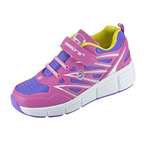 Zapatillas con ruedas automáticas para niños - Transpirables - Mod. 101 - Rosa - Talla 33
