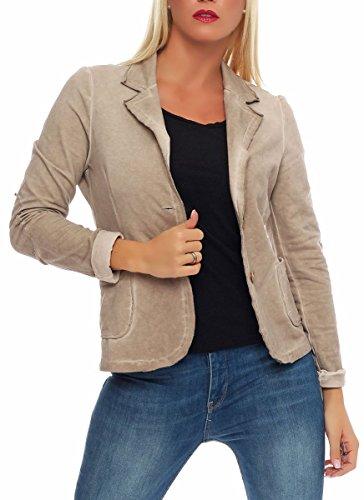 Malito Damen Blazer im Washed Style | Sakko im Basic Look | Kurzjacke mit Knöpfen | Jacke - Jackett - Blouson 1652 (beige, XL)