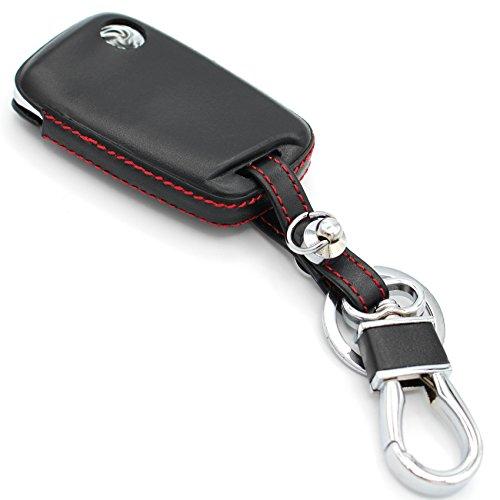 Leder Schlüssel Hülle VD (Nur Keyless Go) von Finest-Folia GmbH (Schwarz Rot)