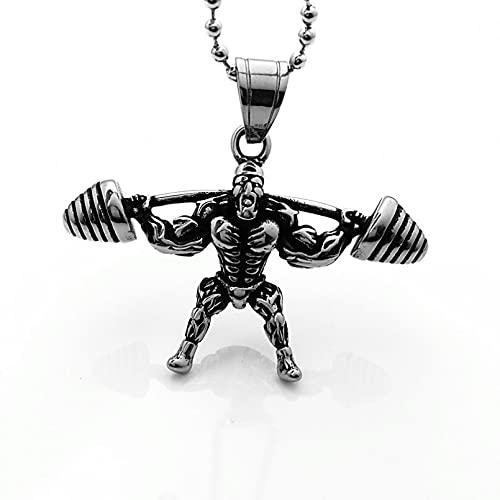 Collar Colgante Colgante de acero inoxidable con mancuernas para hombre, colgante de fitness, estilo punk, collar de acero de titanio, colgante, joyería de calle de estilo europeo Navidad regalo