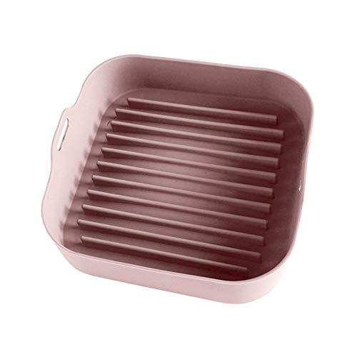 Matedepreso Safe Air Freidora de silicona Olla para hornear antiadherente Bandeja cuadrada para hornear Freidoras de aire Accesorios para horno (rosa)
