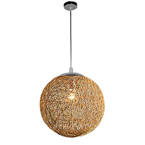 Modern lampenschirm rattan Pendelleuchte Kugel Runden Papierseil Geflecht Hängende Dekorations Lampe für Gänge Restaurant(11.81in/30CM)-Khaki