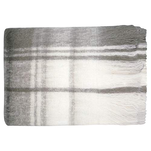 GreenGate Decke Check Grau 125x150cm Karierte Wolldecke Kuscheldecke