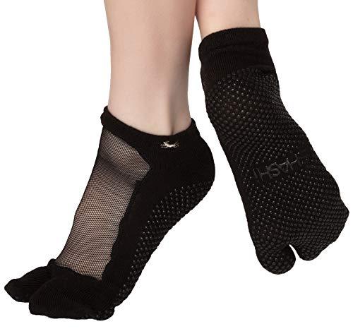 Shashi Black Mesh Non Slip Split Toe Ergonomic Socks Pilates Barre Ballet Yoga Dance Black Medium / 8-10