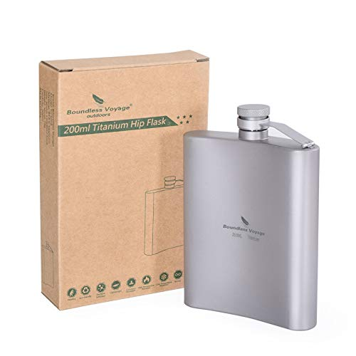 Boundless Voyage Titanio 200 ml petaca petaca al aire libre Camping bolsillo Flagon bebida portátil botella whisky 7 oz