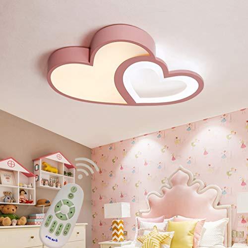 LED Modern Deckenleuchte Kinderlampe Dimmbar Esszimmer Schlafzimmer Decke Lampen mit Fernbedienung, Liebe Herz Design Metall Acryl-schirm Kronleuchter für Küche Bad Flur Deco Leuchten L50*W35cm (Pink)