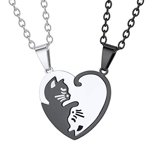 Couple Cat Necklace Stainless Steel Custom Engrave Name Split Heart Puzzle Pendant with Rolo Chain Yin Yang Couple Necklaces Set for Boys Girls