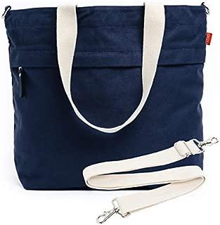 Caldo Canvas Market Tote - Large Travel Bag with Outer Zipper Pocket and Adjustable Shoulder Strap (Navy)