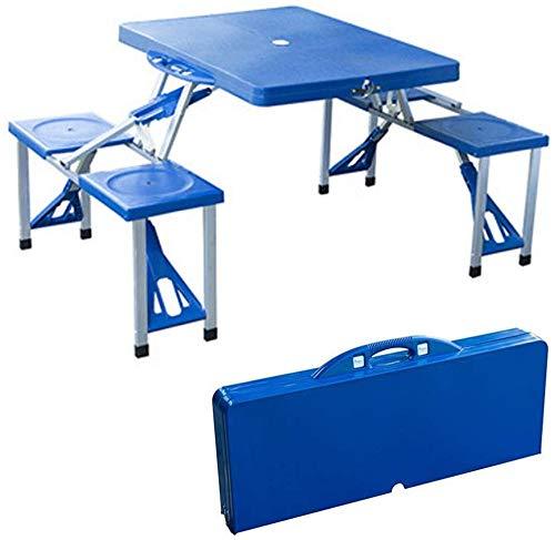 Topinged Portátil Plegable para Acampar Mesa de Picnic y sillas Taburetes Juego Fiesta de Campo Cocina Jardín al Aire Libre Barbacoa de Aluminio Plegable con asa Mesa de una Pieza-Blue