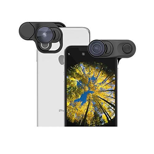olloclip - Vorsatzlinsen, Handy Objektiv mit Fischauge, Makroobjektiv und Weitwinkelobjektiv für Smartphones iPhone XS Max - Schwarz