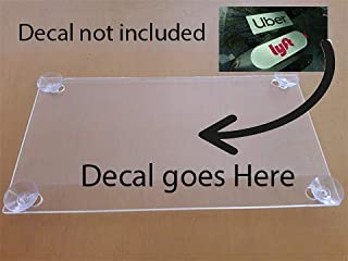 Rideshare Acrylic Clear Holder Sign Include 4 Suction Cups Removable Sign