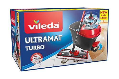 Vileda - Easy Wring & Clean Ultramat TURBO - Set complet balai à plat + seau à pédale système rotatif d'essorage sans effort
