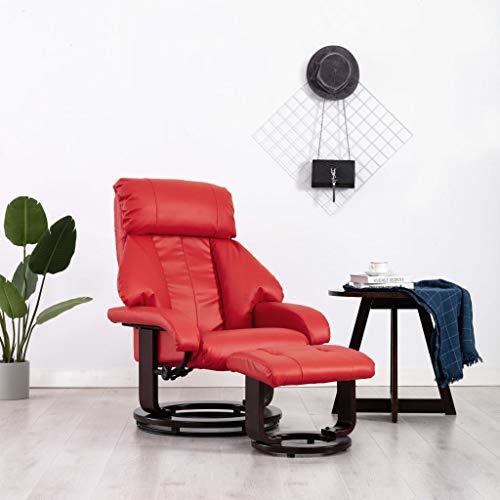 vidaXL TV-stoel met voetensteun, kunstleer, rood