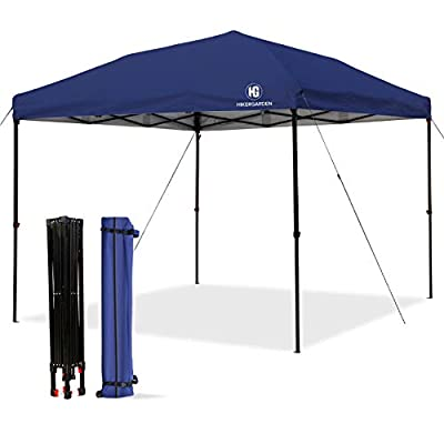 HG Pop-up-Canopy-Tent-10x10 FT, UV 50+ and Waterproof Shelter, 3 Adjustable Height with Wheeled Carrying Bag, 4 Ropes and 4 Stakes, Outdoor and Commercial Instant Canopy