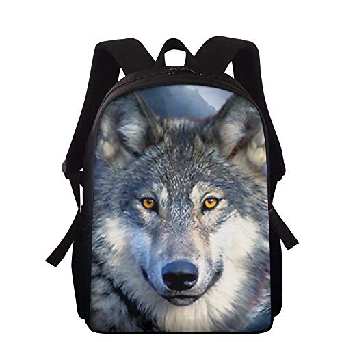 NDISTIN Blue Wolf Cool 3D Accommodates 14-inch Laptop Backpack for Men Women Travel Children Kids Back To School Best Gift Teen Boys Girls Durable Double Shoulder Bag Bookbag Knapsack with Pockets