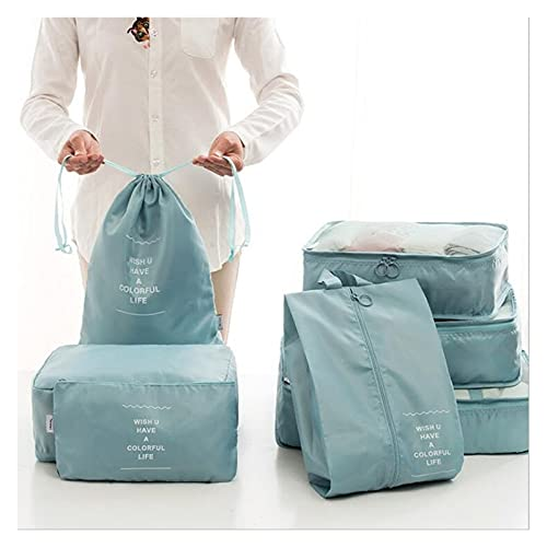 Travel Organiser,Collapsible waterproof7 Set Packing Cubes Travel Organisers Travel Organisers Essential Bags-in-Bag Travel Storage Drawstring Dry Bag Clothes Suitcase Luggage Storage Bags