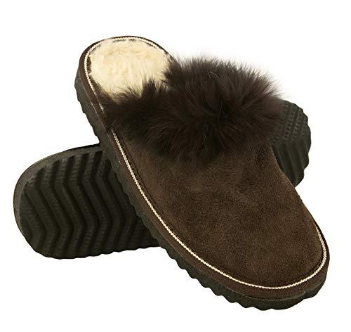 Zerimar Zapatillas Invierno Casa | Pantuflas de Casa Cuero | Zapatillas Casa Piel Double Face | Pantuflas Invierno | Zapatillas de Casa Hombre y Mujer