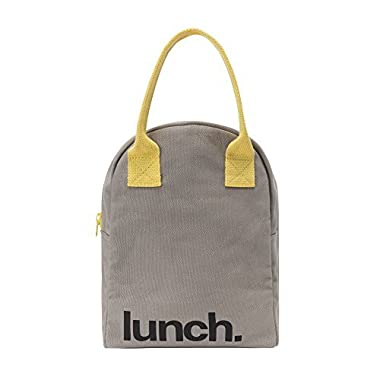 Fluf Zipper Lunch Bag, Organic Cotton (Grey 'lunch')