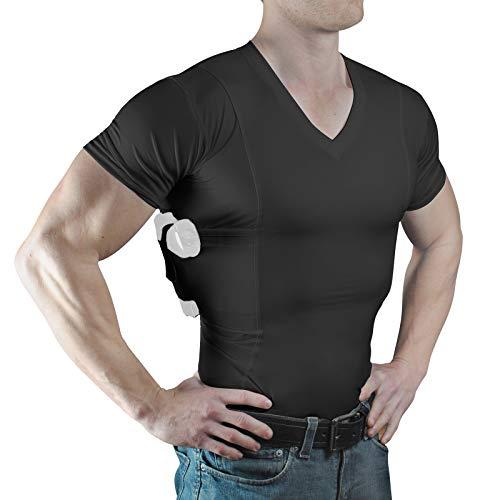 ConcealmentClothes Men's V-Neck Undercover- Concealed Carry Holster Shirt (Large, Black)