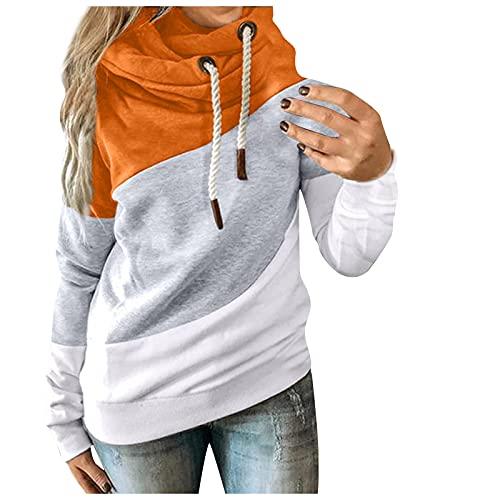 Sudaderas sueltas de punto de manga larga con cordón para mujer, color sólido, bloque de cuello alto, suéter de moda de forro polar, naranja, S