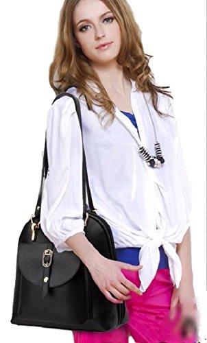 2wayPUレザーバッグきれいめ通勤通学大容量リュックショルダー肩掛け金具レディース(ブラック)