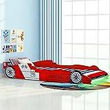 SHUJINGNCE Cama Infantil con Forma de Coche Carreras y LED 90x200 cm roja Material: Estructura de Tablero DM y Listones de Madera