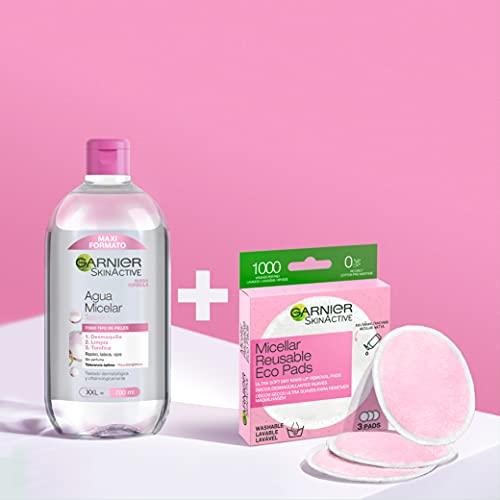 Garnier Agua Micelar Desmaquillante y Limpiador Facial con Discos Desmaquillantes Reutilizables - 700 ml