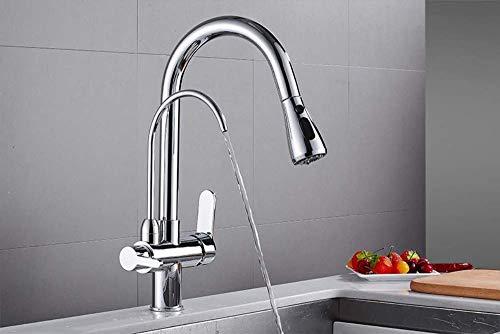 Love Aquatics Drawn Solid Brass Kitchen Faucet Mounted Bridge Filter Kitchen Crane Sink Mixer tap 3-Way Faucet Kitchen Faucet, Silver