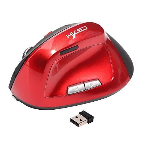 TEMBAC 6D ratón inalámbrico de 2,4 GHz juego del juego de ratón diseño ergonómico del ratón vertical de 2.400 ppp JOY dolor en la muñeca ratones USB for el ordenador portátil (Color : Rojo)