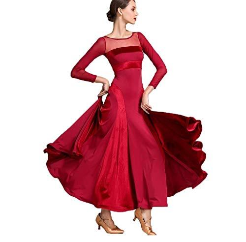 ZYLL Frauen moderner Walzer Tango Tanzen Kleidung Modern Dance Dress nationalen Standard Kleid Ballsaal Wettbewerb Kleid der Frauen,Red,S
