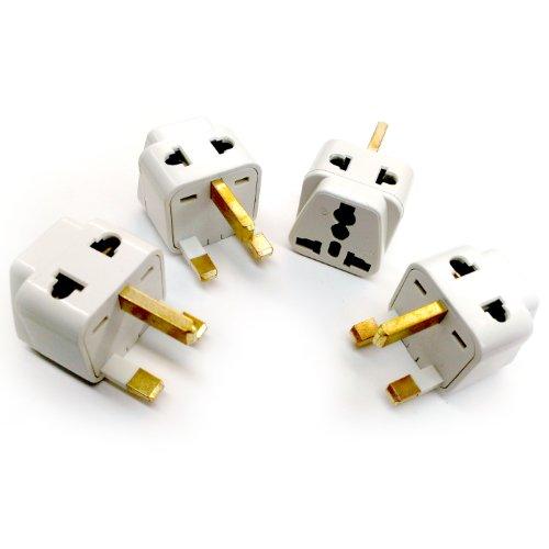 Plug Adaptor England, UK, Hong Kong 2-In-1 Universal Type G - 4 Pack Travel Adapter - United Kingdom, Ireland, Great Britian, Scotland, London, Dublin