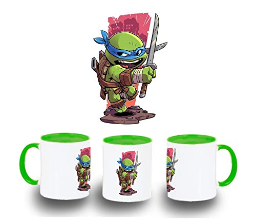 MERCHANDMANIA Taza Verde Tortuga con Katana Color mug