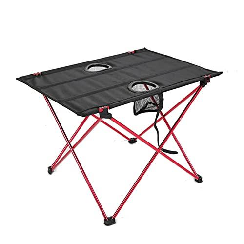 Mesa de Camping al Aire Libre portátil Muebles de Escritorio Plegables Cama de computadora Ultralight Aluminio Senderismo Escalada Picnic Mesas Plegables (Color : R, Size : Big)