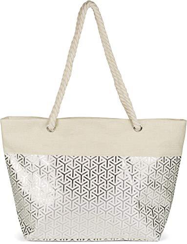 styleBREAKER Damen XXL Große Strandtasche mit Metallic Infinity Muster und Reißverschluss, Schultertasche, Shopper 02012347, Farbe:Beige-Silber