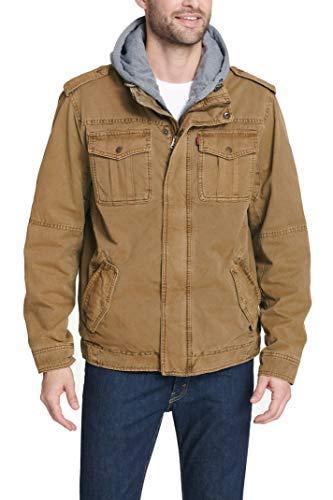 Levi's Men's Washed Cotton Military Jacket with Removable Hood (Standard and Big & Tall), Brown, Large