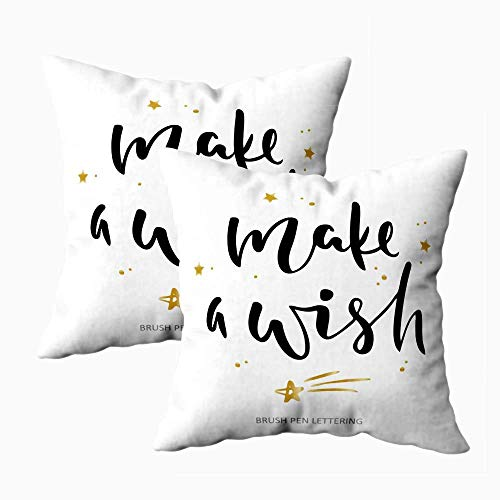 Kissenbezug, 2 Packungen Kissenbezüge Kissen Soft Home Sofa Dekorativ Make Wish Quote Pinsel Stift kann verwendet Werden Print Home Decor Poster Karten Web Double Printed 2er-Set