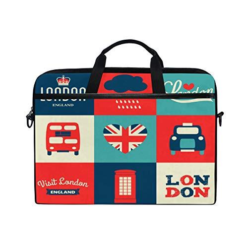 Mnsruu Union Jack London Bus Car 15 inch Laptop Sleeve Case Briefcase Messenger Notebook Computer Bag Shoulder Strap Handle for Men Women Boy Girls