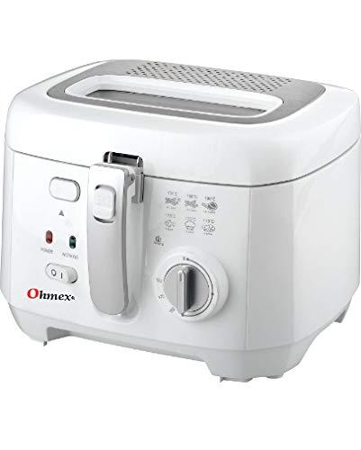 Ohmex OHM-FRY-1180 - Freidora (1800 W, capacidad de aceite, 2,5 litros, termostato ajustable hasta 190 °C, cubeta extraíble para una limpieza fácil
